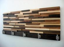 Modern Wood Coat Rack Rustic Hooks