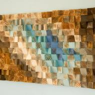 Modern Wood Wall Art Mosaic Geometric