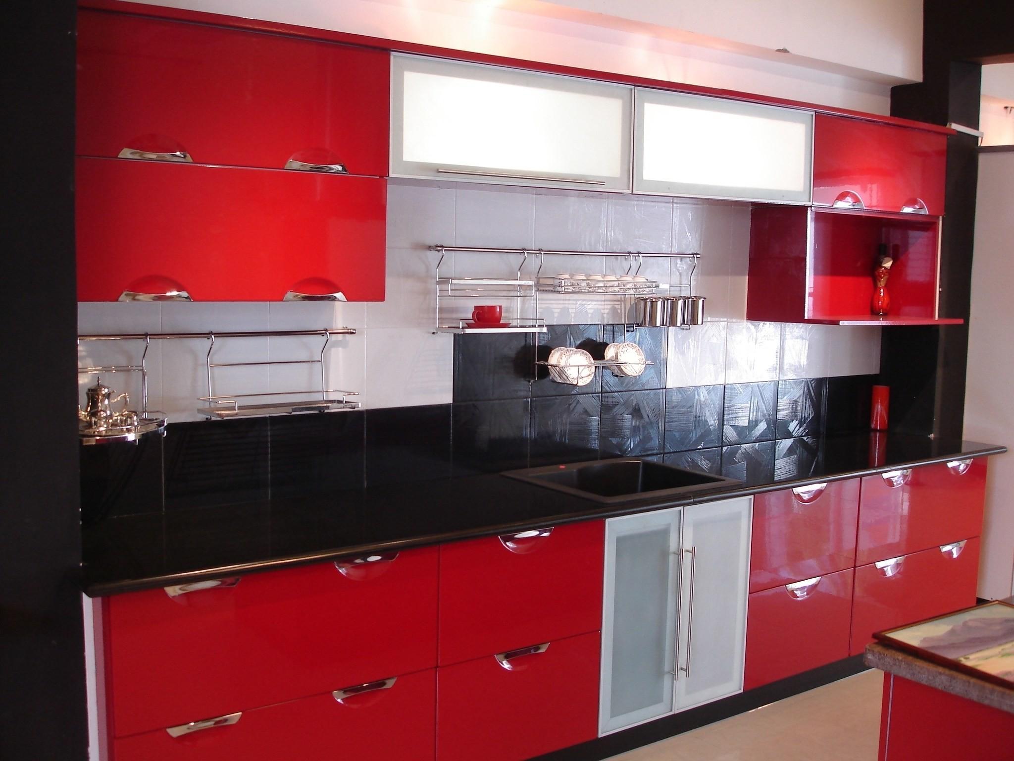 Modular Kitchen Designs Red White Home Design Decoratorist 97368