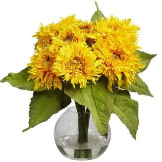 New Artificial Silk Yellow Gold Sunflower Fake Flower