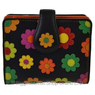 New Ladies Leather Small Flower Design Tabbed Purse Wallet