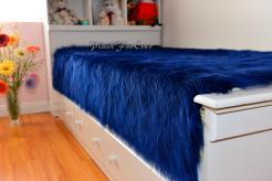 New Navy Shaggy Luxury Faux Fur Bedding Nursery Bedroom