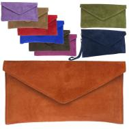 New Suede Italian Genuine Leather Flat Envelope Clutch Bag