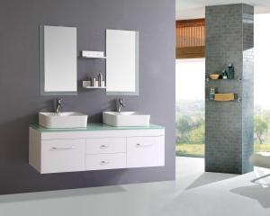 Nice White Floating Modern Bathroom Vanity Glass Top