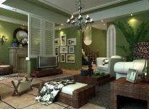 Olive Green Living Room Walls Display Shelve Gray Painting