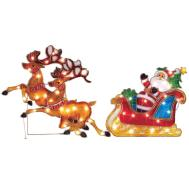 Outdoor Christmas Decoration Lighted Santa Claus Sleigh