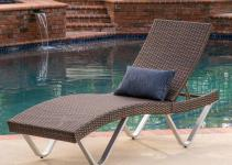 Outdoor Patio Furniture Single Adjustable Brown Wicker