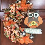 Owl Wreath Fall Grapevine