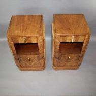 Pair Deco Burr Walnut Bedside Cabinets Furniture