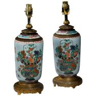 Pair Late 19th Century Cantonese Porcelain Vases Lamps