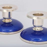 Pair Sterling Silver Deep Blue Enamel Candlesticks