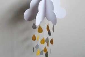 Paper Cloud Mobile Raining Yellow Gray Raindrops