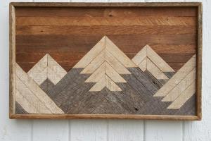 Past Reclaimed Wood Wall Art Small Mountain Range Lodge