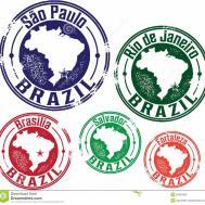 Paulo Rio Janeiro Brazil City Stamps Stock