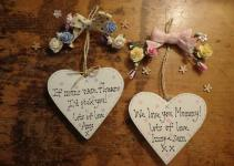 Personalised Mother Day Handmade Heart Wooden Plaque