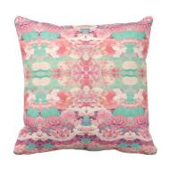 Pink Floral Teal Fashion Kaleidoscope Pattern Throw Pillow