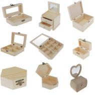 Plain Unpainted Wooden Grids Glass Lid Storage Box
