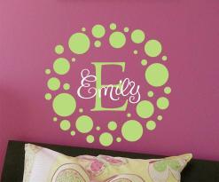 Polka Dot Childrens Wall Decal Monogram Vinyl