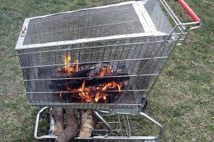 Portable Fire Pit Built Log Storage Rack Steps