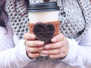 Pumpkin Spice Latte Cozy Crochet Coffee Cup Heart