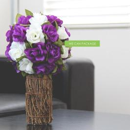 Purple Kissing Ball Twig Centerpieces Beach Wedding