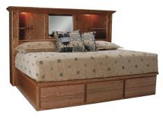 Queen Storage Bed Bookcase Headboard Houston