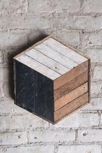 Reclaimed Wood Wall Art Decor Cube Lath