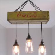Recycled Coca Cola Woodcase Chandelier Lights