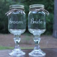 Redneck Wine Glass Set Wedding Party Mason Jars