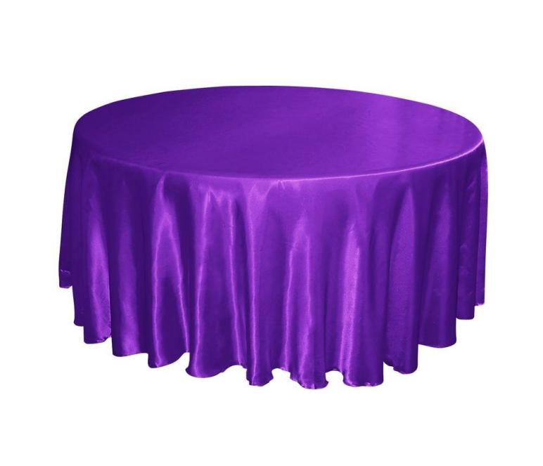 Regency Royal Purple Satin 132 Round Tablecloths Table