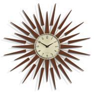 Retro Starburst Mid Century Wood Wall Clock Newgate