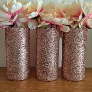 Rose Gold Glitter Vases Centerpiece Wedding