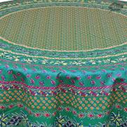 Round Olives Green Cotton Coated Provence Tablecloth