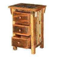 Rustic Pioneer Reclaimed Wood Drawer Nightstand End Table