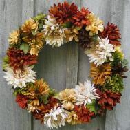 Sale Fall Wreaths Chrysanthemum Autumn Floral Wreath