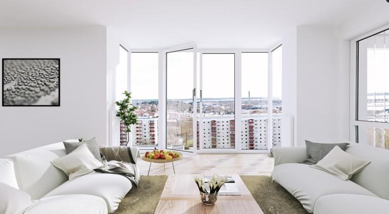 Scandinavian Apartment White Living Floor Ceiling