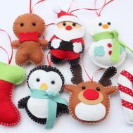 Set Felt Plush Christmas Ornaments Santa Claus Snowman