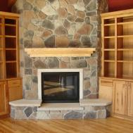 Simple Design Winning Fireplace Stacked Stone Architecture