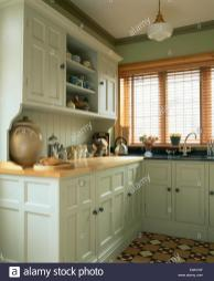 Slatted Wooden Blind Window Kitchen Traditional