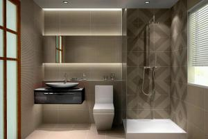 Small Modern Bathroom Design 2017 Grasscloth