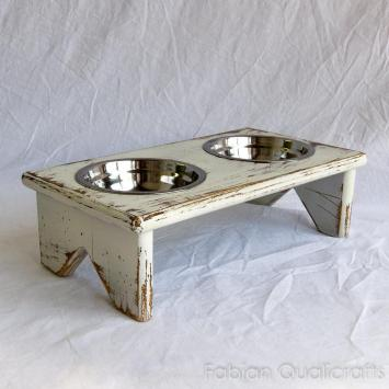 Small Wooden Elevated Pet Feeder Two Raised Stainless