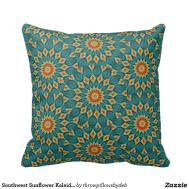 Southwest Sunflower Kaleidoscope Throw Pillow Zazzle