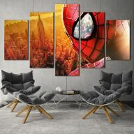 Spiderman Over New York Piece Canvas Art Wall