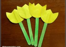 Spring Flower Craft Popsicle Stick Tulips Naw Ruz All