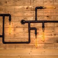 Steampunk Pipe Wall Light Industrial Black Steel Vintage