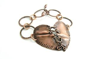 Stitched Heart Copper Metal Bracelet Handmade