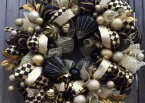 Stunning Black Gold Christmas Wreath Holiday