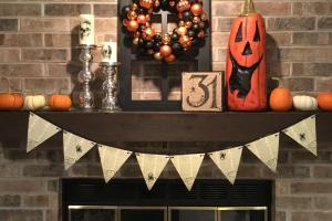 Style Fireplace Mantel Halloween Edition