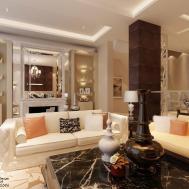 Stylish Living Room Wall Shelves Cream Sofa Black