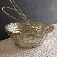 Super Cute Vintage Silver Wire Braded Basket Great